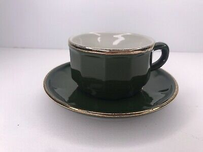 £4.99 • Buy Apilco Green French Bistro 1 Coffee Cups & Saucer Missing Some Gold Trim