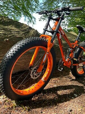 View Details Mountain Bike Fat Tyre Bicycle Full Suspension Orange Dual Crown Downhill Fork • 450.00£
