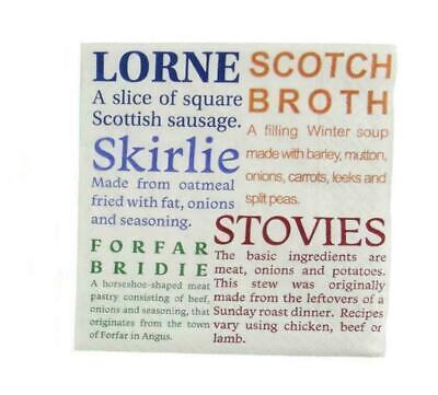 £3.49 • Buy Scottish Food Delicacies 3 Ply Paper Cocktail Napkins - Fun /Home Glen Appin