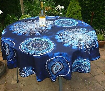 £16.67 • Buy Tablecloth Provence 160 CM Round Blue From France Easy-Care Non-Iron