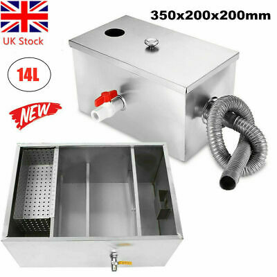 £29.69 • Buy Commercial Grease Trap Waste Fat Filter 14L Stainless Steel Restaurant Takeaway
