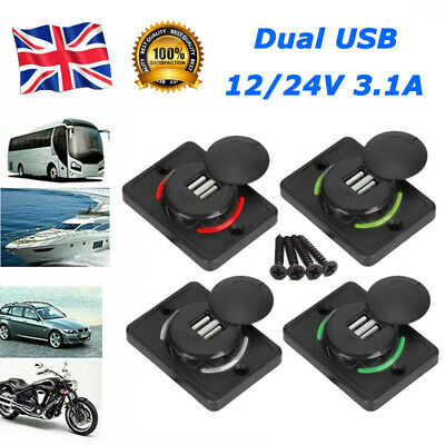 £4.73 • Buy 12V 3.1A Dual-USB Car Charger 2 Port Adapter Power Socket Charging Panel Mount