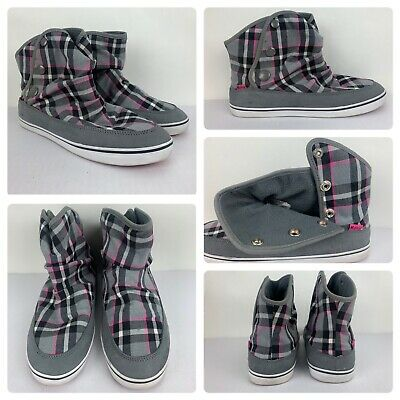 £25.45 • Buy Etnies Women's Gray Pink Plaid High Top Button Up Sneaker Shoes Size 9.5