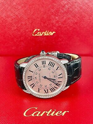 $5999 • Buy Cartier Ronde Solo Men's Watch Silver 42mm Iced Out 1.5ct Diamonds Ref 3517