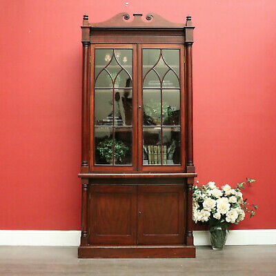AU1250 • Buy Antique English Mahogany Bookcase, 2 Section Bookcase With Cabinet Below