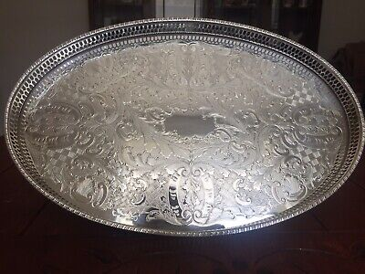 £19.99 • Buy VINERS Of SHEFFIELD Silver Plated, Chased 15' X 9.75' Oval Gallery Tray EXC COND