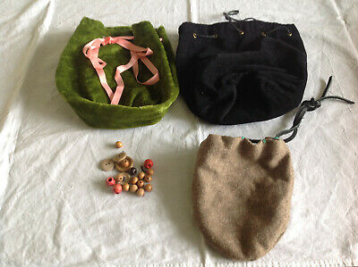 £4.99 • Buy 3 X English Civil War Re-enactment Hand Made Cloth Bags + Wooden Buttons