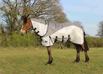 £43.29 • Buy Horse Fly Rug With Waterproof Turnout Top Combo Neck Fly Rug Grey/Silver