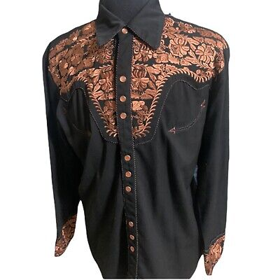 $59.96 • Buy SCULLY Mens Embroidered Retro Western Shirt Snap Button Floral M #133