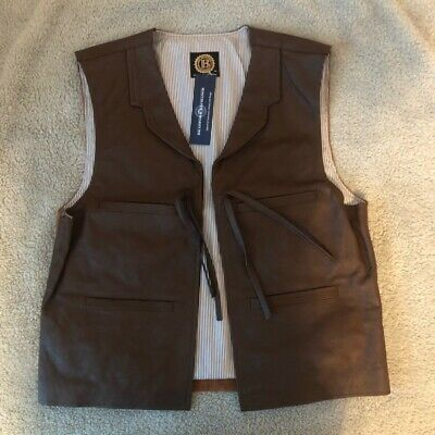 $70 • Buy The Bradford Exchange Mens Vest Brown Western The Duke Collared Leather M New