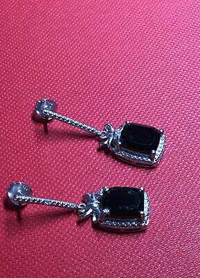 £14.99 • Buy Vintage 925 Silver Spinel ? And Diamond Deco Style Drop Earrings / Makers Karis