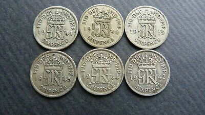 £11.50 • Buy 6x  King George V1 Sixpence Coin 1939,1940,1942,1943,1944,1945 0.500(50%) Silver