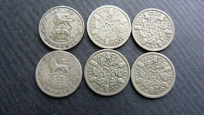 £3.41 • Buy 6x George V Sixpence 1925,1926,1928.1929,1930,1936. 0.500 (50%) Silver