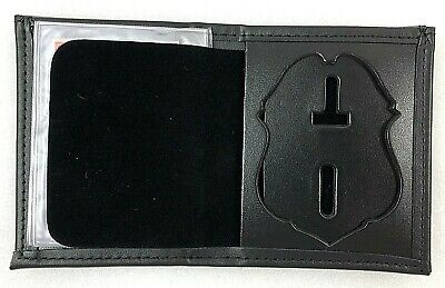 £10.50 • Buy Police Badge Wallet Bifold Black Leather Recessed ID Perfect Fit 110 Cutout 123