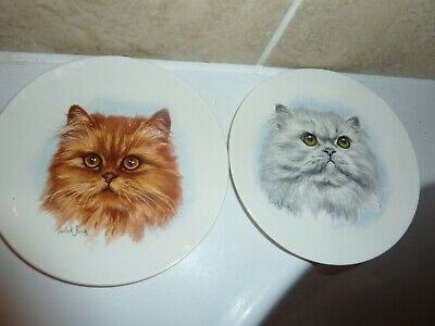 £29.50 • Buy Poole Pottery 15.2 Cm Plates With Ginger Cat & Persian Cat Images By Derick Bown