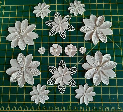 £2.60 • Buy 14 Handmade Flowers - Card Topper Embellishments Ivory/Cream With Pearl Gems