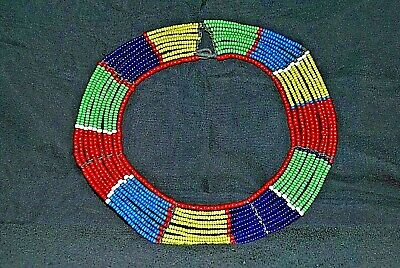 $220 • Buy AUTHENTIC Vintage Maasai (Masai) African Tribal Glass Bead Collar Necklace