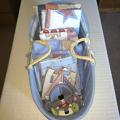 £22 • Buy Blue Boys Moses Basket, Bedding, Hangy Things, Cot Organiser, Nappy Store, Etc