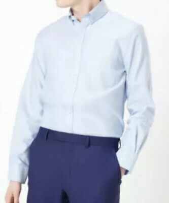 £11.99 • Buy M&S MENS TAILORED FIT PURE COTTON LONG SLEEVE OXFORD SHIRT IN SKY BLUE Size 2XL