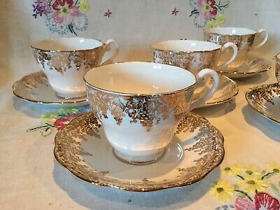 £27.50 • Buy *5 Stunning Vintage White And Gold Bone China Tea Set Tea Cups And Saucers*