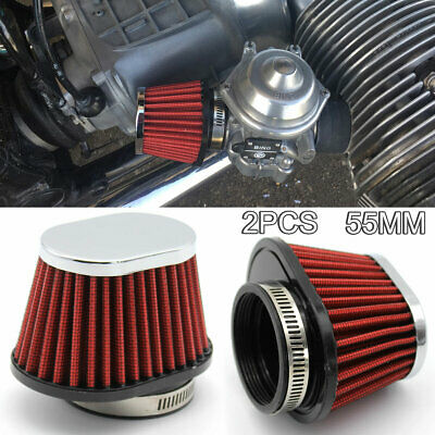 £7.89 • Buy 54/55mm Universal Motorcycle Air Filter Vent Cone Clamp-on Pod Cleaner Washable