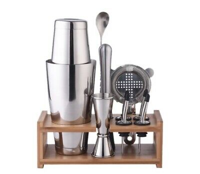 £20.95 • Buy NEW 800Ml Stainless Cocktail Shaker Mixer Bartender Tools Set With Wooden Rack