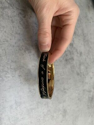£12.50 • Buy Disney Couture Black And Gold Hinged Bracelet Bangle 'Think A Wonderful Thought'