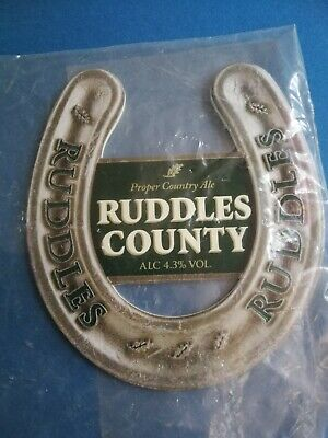 £3 • Buy GREENE KING Brewery RUDDLES COUNTY Real Ale Beer Pump Clip Badge Front NEW