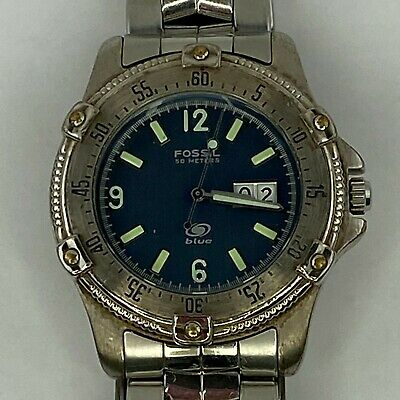 $29.99 • Buy Fossil Blue Men's Stainless Watch Analog Metal AM-3251 *** PARTS ONLY *** B34