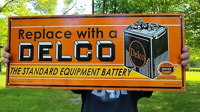 $ CDN100.81 • Buy Large Vintage Dated 1949 Delco Battery Porcelain Double Sided Gas Station Sign