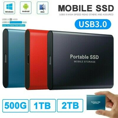 AU34.99 • Buy 1TB 2TB Internal SSD Hard Drive USB 3.0 Type-C Portable Mobile Solid State Drive