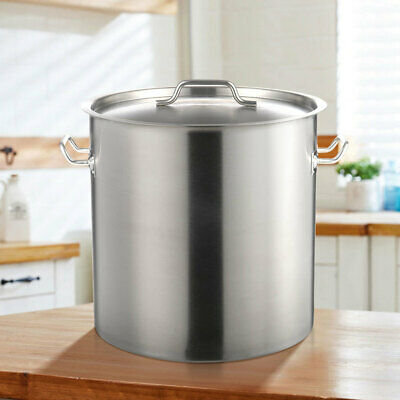 £49.95 • Buy Deep Stock Soup Pot Stainless Steel Catering Boiling Stew Cooking Pot With Lid