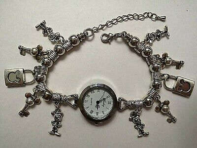 £10.99 • Buy Handmade MICKEY MOUSE  Watch Bracelet With 10 Silver MICKEY MOUSE Charms