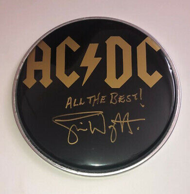 """£99.99 • Buy Signed Simon Wright Acdc 8"""" Blck Drum Head Authentic Rare Angus Young"""