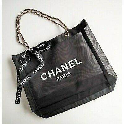 £27 • Buy Chanel Paris Mesh Gift Bag With Ribbon And Gold Chain Handles