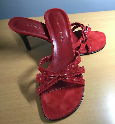 £9.99 • Buy Ladies Roland Cartier Red Leather And Suede Heeled Sandals Size 6 / New