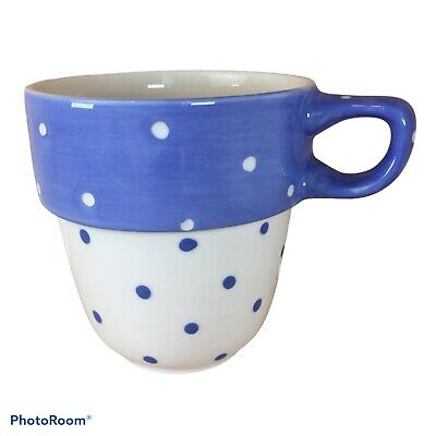 £9.99 • Buy M&S Stacking Stackable Mug Cup Blue White Polka Dots Spotty Replacement