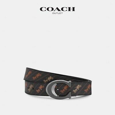 $128 • Buy NWT Coach Sculpted Signature Buckle Cut-To-Size Reversible Belt With Horse