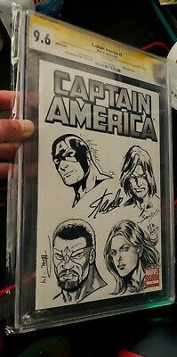 £707.53 • Buy Stan Lee Signed CGC 9.6 SS Captain America #1 Signed 5X & Sketched Art 4X Bagley