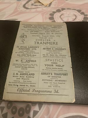 £2.99 • Buy Chester Fc V Tranmere Rovers 1957/8 Football Programme