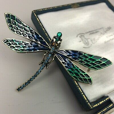 £12.99 • Buy Vintage Style Art Nouveau Dragonfly Insect Brooch Chequered Enamel Green Blue