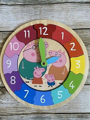 £14.99 • Buy Peppa Pig Wooden Clock Children's Puzzle Time Learning Toy Milly And Flynn
