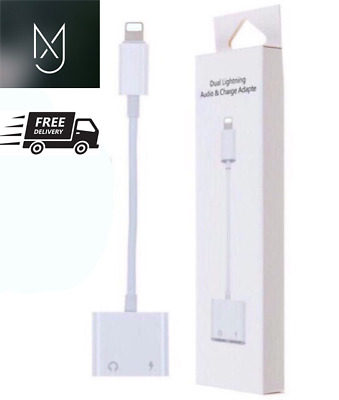 £2.99 • Buy Dual 2in1 FOR IPhone IPad Headphone Audio & Charger Adapter Splitter 7 8 11 X