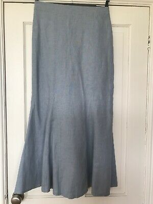 £8 • Buy The Linen Press Blue Skirt 10/12 Excellent Condition