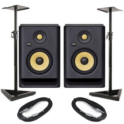 £296 • Buy KRK Rokit RP5 G4 Pair Active DJ Studio Monitor Speakers With Pro Stands & Cables
