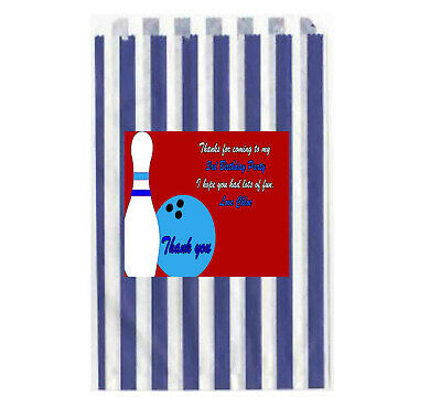 £4.95 • Buy Personalised Bowling Sweet Paper Bags Striped Candy Cake  Favour Birthday Bags