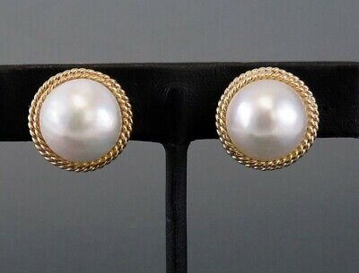 $840 • Buy Retro Style 14K Yellow Gold Double Twist Rope Mabe Pearl Clip Earrings 28.3mm