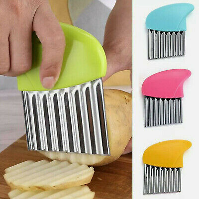 £2.98 • Buy Stainless Steel Potato Chip Cutter Salad Vegetable Crinkle Wavy Kitchen Tool UK