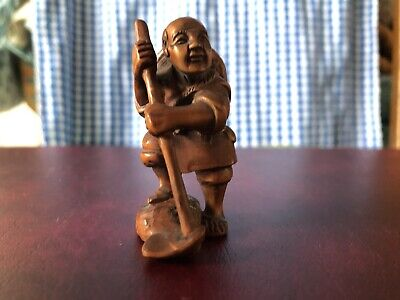 £49.99 • Buy Netsuke Signed Wooden Old Man With Stick / Farmer