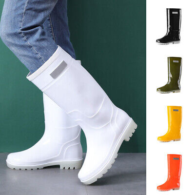 £15.68 • Buy Unisex Adult Rain Boots Rubber Waterproof Solid Color Wellies High Top Boots SZ
